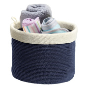 Knit Baby Nursery Closet Organiser Bin for Stuffed Animals, Toys, Blankets, Towels - Large, Navy/Ivory