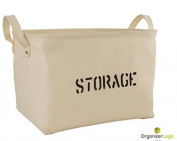 Storage Organisation by OrganizerLogic - Storage Baskets made from Eco-Friendly Twill. Universal Household Storage Organiser. Works as Baby Storage and Toy Organiser. Nursery Baskets fit most shelves