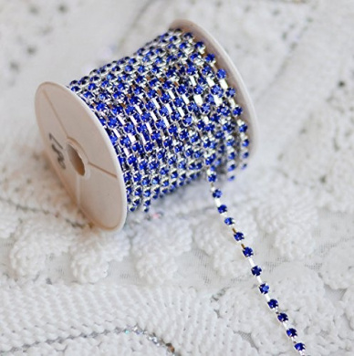 9.1m/ 10 Yards Dark Royal Blue Australia Rhinestone Chain Crystal Silver SS16 4mm Wedding Cake Decoration Brooch Bouquet Supply RC087
