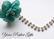 0.9m/1 Yard Rhinestone Chain 2 Row Crystal Silver Wedding Cake Decoration Bouquet Flower Jewellery RC024
