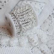 9.1m/ 10 Yards Rhinestone and Pearl Chain Australia Crystal Silver SS16 4mm Wedding Cake Decoration Brooch Bouquet Jewellery Supply RC056