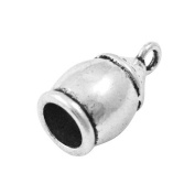 Pack of 6 x Antique Silver Tibetan 11 x 20.5mm Kumihimo Barrel End Caps - (HA12105) - Charming Beads