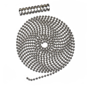 3m Length Ball Chain, #10 Size, Nickel Plated Steel, & 10 Matching 'B' Couplings