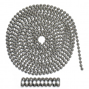 3m Length Ball Chain, #10 Size, Stainless Steel, & 10 Matching 'B' Couplings