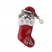 Beautiful Bead Christmas Brooch Pin Gift Cat in Christmas Boot
