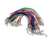 Yueton Pack of 30 Mixed Colour Leather Plaited Cords Ropes for Charms Bracelets Jewellery Making