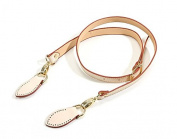 120cm byhands Genuine Leather Shoulder Ivory Bag Strap/Purse Handles with Gold Style Ring