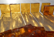 FortySevenGems 100 Pieces Stained Glass Mosaic Tiles 1.3cm Lt Amber Cathedral Glass Textured