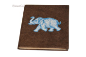 Nepali Notebook of Handmade Lokta Paper with Elephant printed on cover. Made in Nepal. (21 x 15.5 cm)