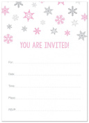 24 Cnt Pink Snowflakes Fill-in Holiday Invitations
