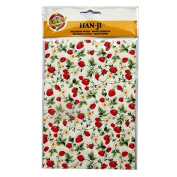 Handmade Decorative Korean Han-ji Mulberry Paper - 2 Designs - Strawberry Plant & Gold Weave - 3 Sheets of Each - Size 8.3 X 5.9
