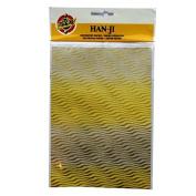 Handmade Decorative Korean Han-ji Mulberry Paper - 2 Designs - Gold Waves & Gold Star - 3 Sheets of Each - Size 8.3 X 5.9