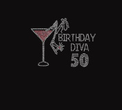"Birthday Diva ""You Pick the Numbers ""Rhinestone Iron on Transfer"