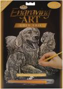 Gold Foil Engraving Art Kit 20cm x 25cm -Golden Retriever & Puppies