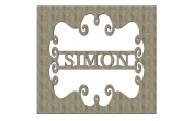 Unfinished Wood Style Sq Frame with Name Bar Monogram in 44cm X 44cm Door Hanger