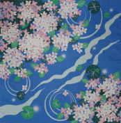 Furoshiki Wrapping Cloth Lily Pads and Pink Hydrangea Motif Japanese Fabric 50cm