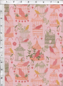 Timeless Treasures Whimsy Songbirds Cages Pink Fabric