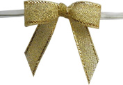 Small, Metallic Gold Twist Tie Bows- 100pc