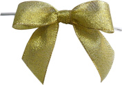 Large Metallic Gold Twist Tie Bows- 100pc