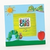 Roman 17cm Tall 4 X 4 Blue Photo Frame Featuring a Caterpillar, Butterfly and An Apple, From The World of Eric Carle
