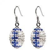 Clear and Blue Crystal Football Earrings