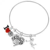 """I Love Volleyball""Adjustable Bracelet, ©2016 Safe-Hypoallergenic, Nickel,Lead, & Cadmium Free"