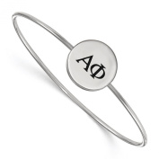 925 Sterling Silver Rhodium-plated Alpha Phi Sororities Enamelled Slip-on Bangle Bracelet 18cm