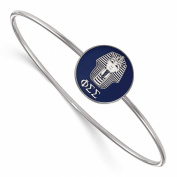 925 Sterling Silver Rhodium-plated Phi Sigma Sigma Enamelled Slip-on Sororities Bangle Bracelet 18cm