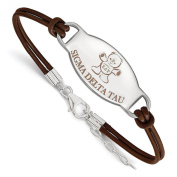 925 Sterling Silver Rhodium-plated Sorority Sigma Delta Tau Enamelled Oval Leather Bracelet 18cm