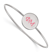 925 Sterling Silver Rhodium-plated Phi Mu Sorority Enamelled Slip-on Bangle Bracelet 18cm