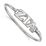 925 Sterling Silver Rhodium-plated Sorority Zeta Tau Alpha Small Bangle Bracelet 18cm