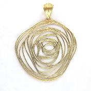18Kt yellow gold Rose shape pendant 5.1cm
