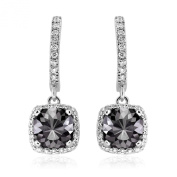Romantic 4.10ct Patented Cushion Cut Black Diamond Dangling Earrings with White Diamond Halo, 14k White Gold
