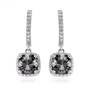 Romantic 2.50ct Patented Cushion Cut Black Diamond Dangling Earrings with White Diamond Halo, 14k White Gold