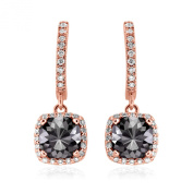 Romantic 2.50ct Patented Cushion Cut Black Diamond Dangling Earrings with White Diamond Halo, 14k Rose Gold
