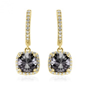 Romantic 2.50ct Patented Cushion Cut Black Diamond Dangling Earrings with White Diamond Halo, 14k Yellow Gold