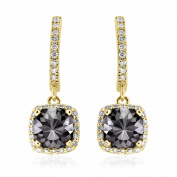 Romantic 4.10ct Patented Cushion Cut Black Diamond Dangling Earrings with White Diamond Halo, 14k Yellow Gold