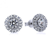Rhodium Plated Sterling Silver Round Cubic Zirconia Double Halo Stud Earrings