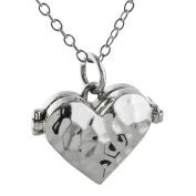 Sterling Silver Hammered Heart Locket Necklace, 46cm
