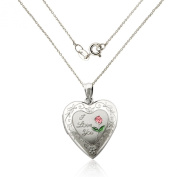 """925 Sterling Silver """"I LOVE YOU"""" Heart Locket Necklace with pink engraved Flower/46cm chain"""