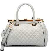 Dasein Quilted Barrel Satchel Shoulder Bag with Push-Up Closure