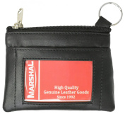 Genuine Leather Front ID Holder Coin Change Purse with Key Ring