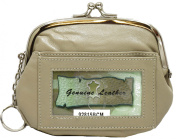 Womens Leather Coin Purse Mini Wallet Metal Frame Id Window Credit Card Case Kiss Lock