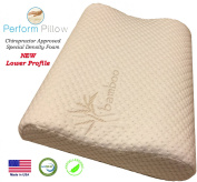 Low Profile Memory Foam Neck Pillow - Double Contour - Chiropractor Approved - Washable Soft Bamboo Cover - Great for Neck Pain, Sleeping, Children