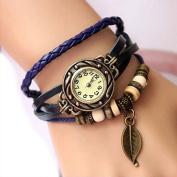 TOOGOO(R) Retro Weave Wrap Around Leather Bracelet Lady Wrist Watch Quartz Watch