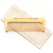 Beard Comb Pocket Size, Hair & Moustache Grooming Tool, Handcrafted Organic Siberian Birch, Use with Oil, Balm or By Itself. Travel Pouch, Made in Russia