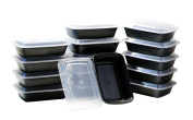 15-Pack Food & Health 1120ml Microwavable Microwave Safe Food Container Lid Bento Box, Black