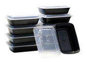 10-Pack Food & Health 1120ml Microwavable Microwave Safe Food Container Lid Bento Box, Black