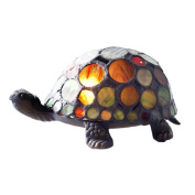 8.9cm H Stained Glass Spotted Turtle Accent Lamp