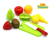 Little Treasures Play Chopping Kitchen toy - colourful cutting food playset includes easy to cut apple, kiwi, grapefruit, lemon, banana, pear, strawberry all fastened by hook and loop for easy slicing